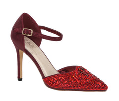 REESE-1 Rhinestone Pointed Toe Pump- Red