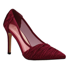 Renzo-116 Ruched Satin and Mesh Pump- Wine, De Blossom Collection- De Blossom Collection