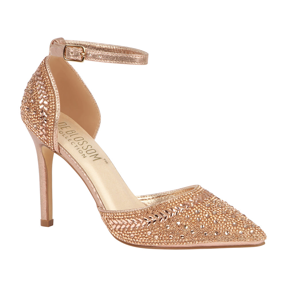 RENZO-126 Rhinestone Embellished Pointed Toe Heel- Rose Gold