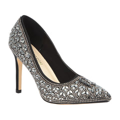 Renzo-150 Women's Ornate Floral Rhinestone Pump- Black, High Heels- De Blossom Collection