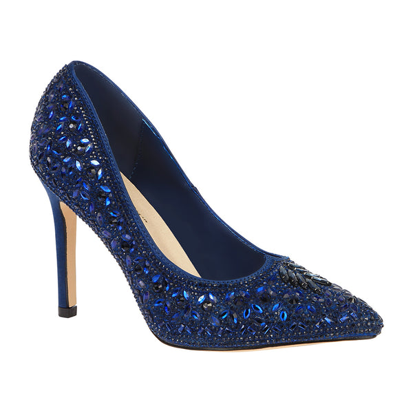 Renzo-150 Women's Ornate Floral Rhinestone Pump- Navy