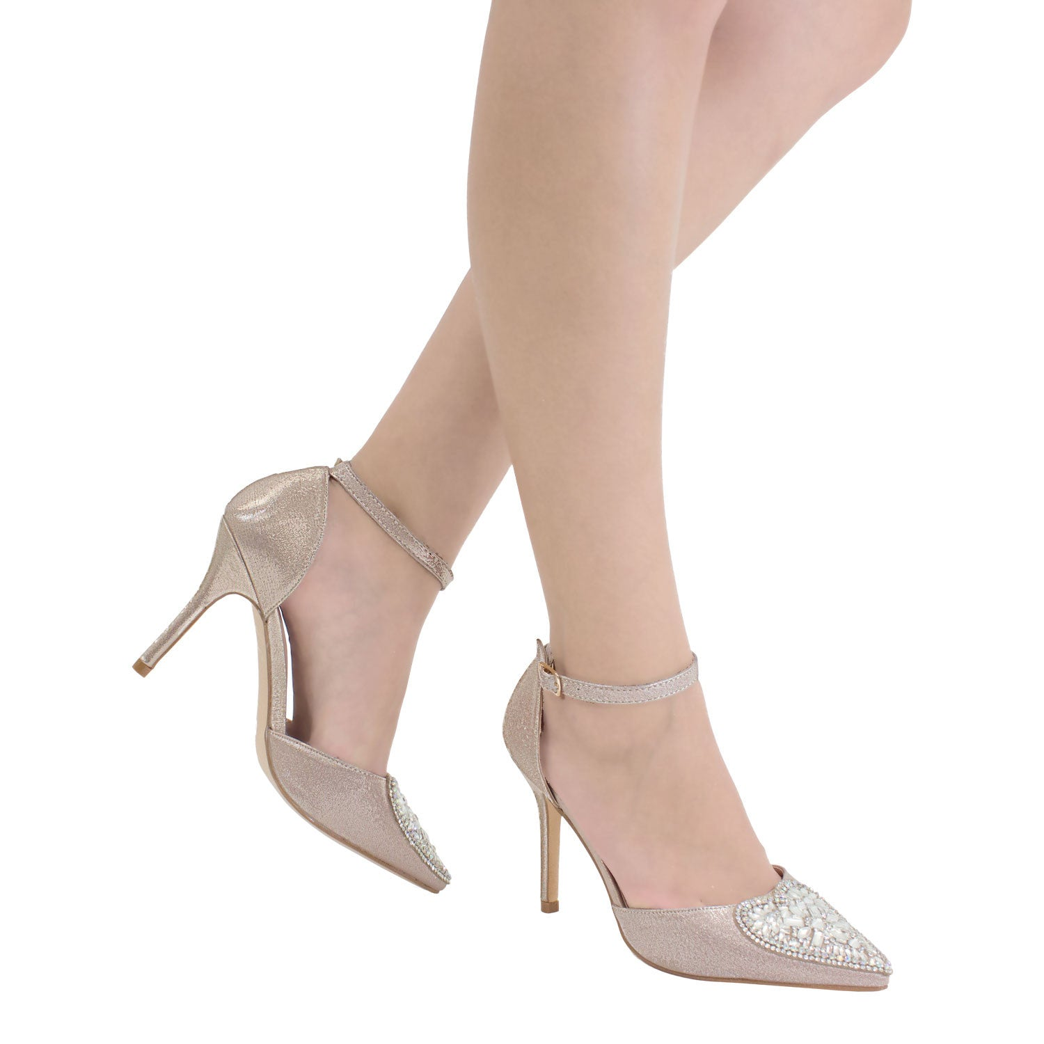 Renzo-49 Women's Heart Detail Pointed Toe Pump- Champagne, Heels- De Blossom Collection