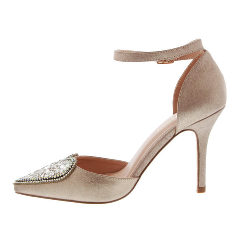 Renzo-49 Women's Heart Detail Pointed Toe Pump- Champagne