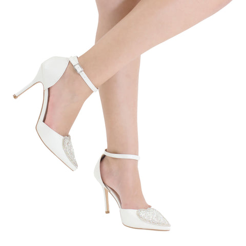 Renzo-49 Women's Heart Detail Pointed Toe Pump- Ivory