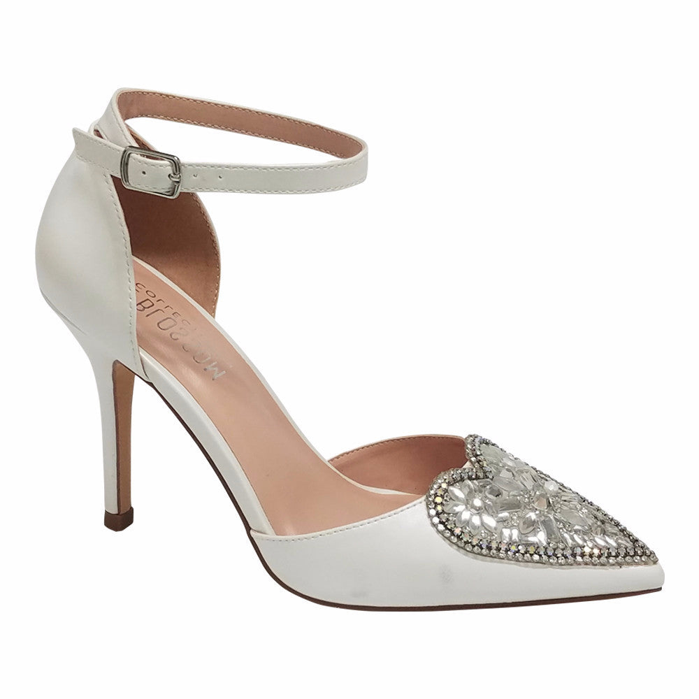 Renzo-49 Women's Heart Detail Pointed Toe Pump- Ivory, Heels- De Blossom Collection