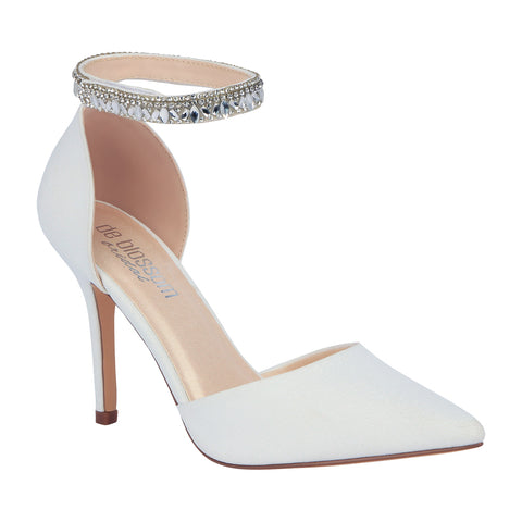 Renzo-65B- Bridal Pointed Toe Pump- White, High Heels- De Blossom Collection