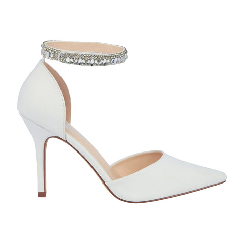 Renzo-65B- Bridal Pointed Toe Pump- White