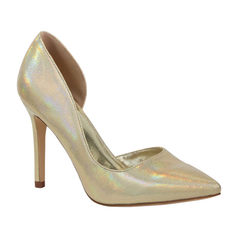 Renzo-72 Holographic Pointed Toe Pump- Gold, Heels- De Blossom Collection