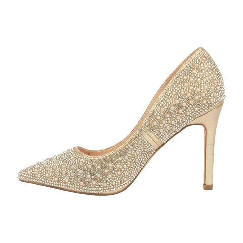 Renzo-73 Pearl and Rhinestone Pump- Nude
