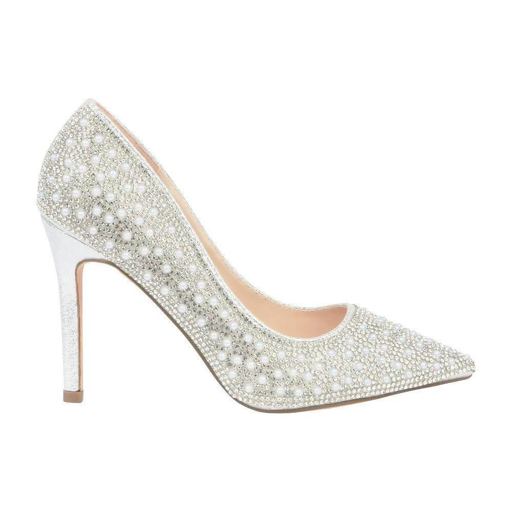 Renzo-73 Pearl and Rhinestone Pump- Silver, Heels- De Blossom Collection