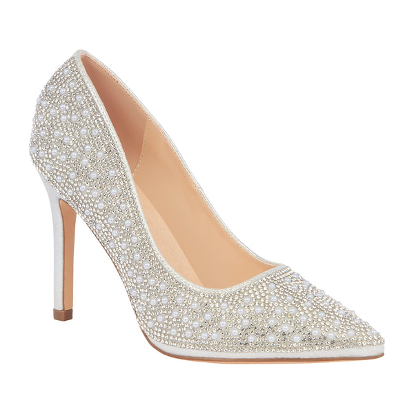 Renzo-73 Pearl and Rhinestone Pump- Silver