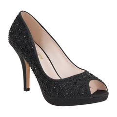 Robin-175 Women's Peep Toe Sparkle Rhinestone Mid Heel- Black, Mid Heels- De Blossom Collection