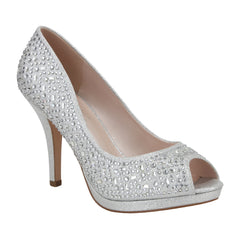 Robin-175 Women's Peep Toe Sparkle Rhinestone Mid Heel- Silver, De Blossom Colection- De Blossom Collection