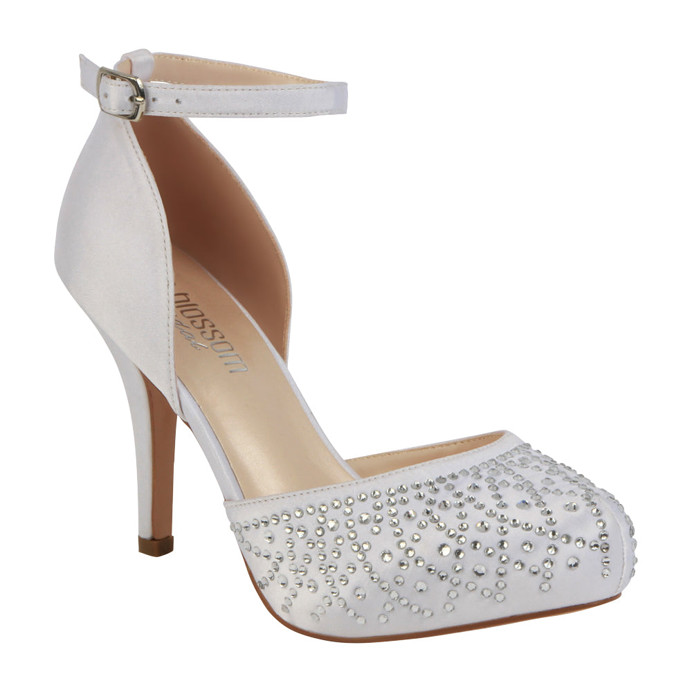 Robin-231B Bridal Satin Almond Toe Heel- White, Mid Heels- De Blossom Collection
