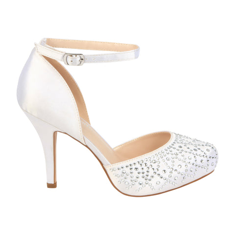 Robin-231B Bridal Satin Almond Toe Heel- White