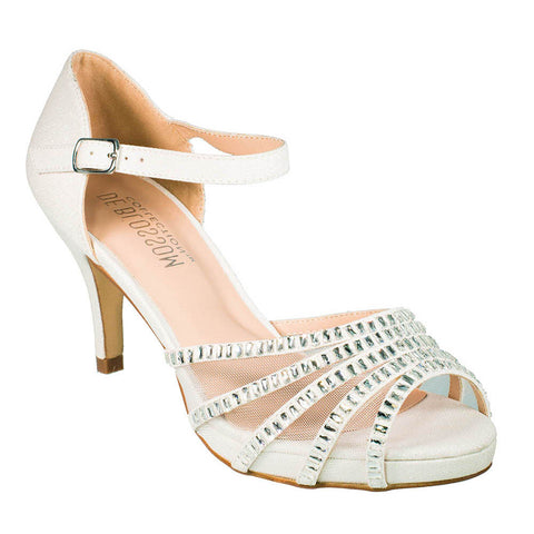 Roma-22 Women's White Sheer Panel Mid Heel- White