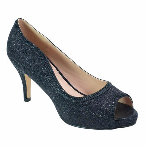 Roma-32 Shimmer Low Pump- Black