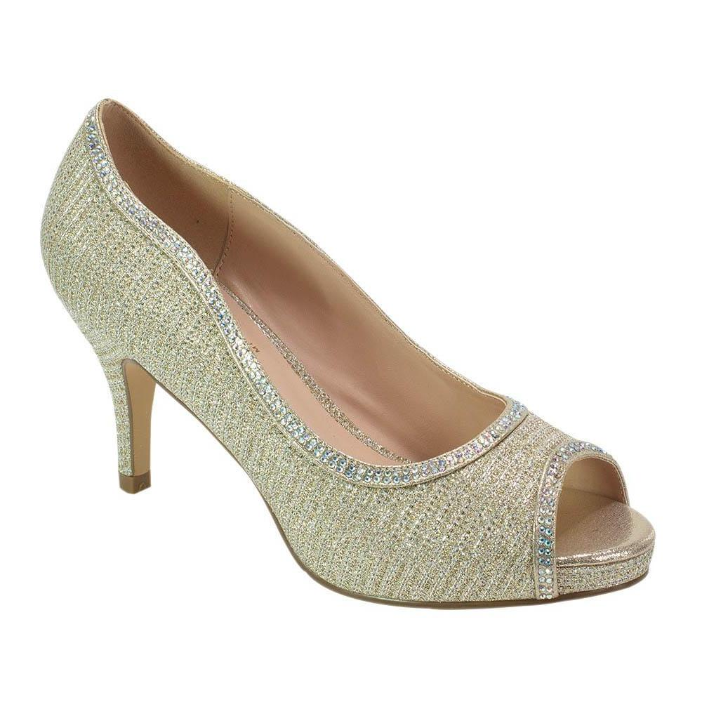 Roma-32 Shimmer Mid Pump- Nude, Mid Heels- De Blossom Collection