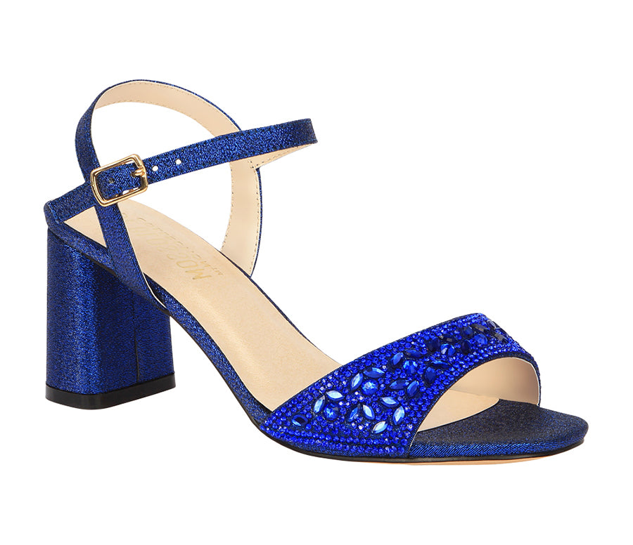 Sofia-52 Women's Block Heeled Rhinestone Sandal- Royal Blue, De Blossom Collection- De Blossom Collection