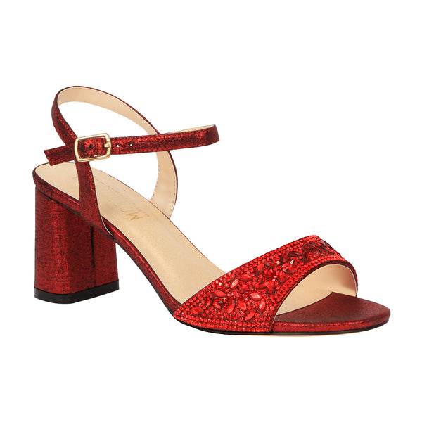 Sofia-52 Women's Block Heeled Rhinestone Sandal- Red