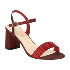 Sofia-53 Women's Block Heel Sandal- Wine Sparkle, Low Heels- De Blossom Collection
