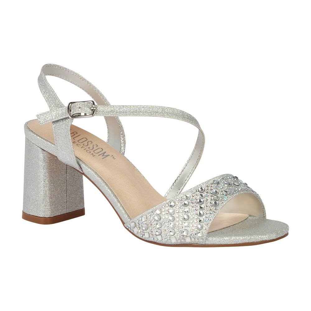 SOFIA-60 Special Occasion Block Heeled Sandal- Silver