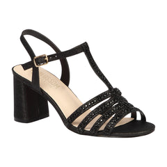 SOFIA-68 Women's Chunky Heeled Strappy Sandal- Black