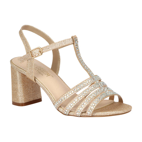 SOFIA-68 Women's Chunky Heeled Strappy Sandal- Silver