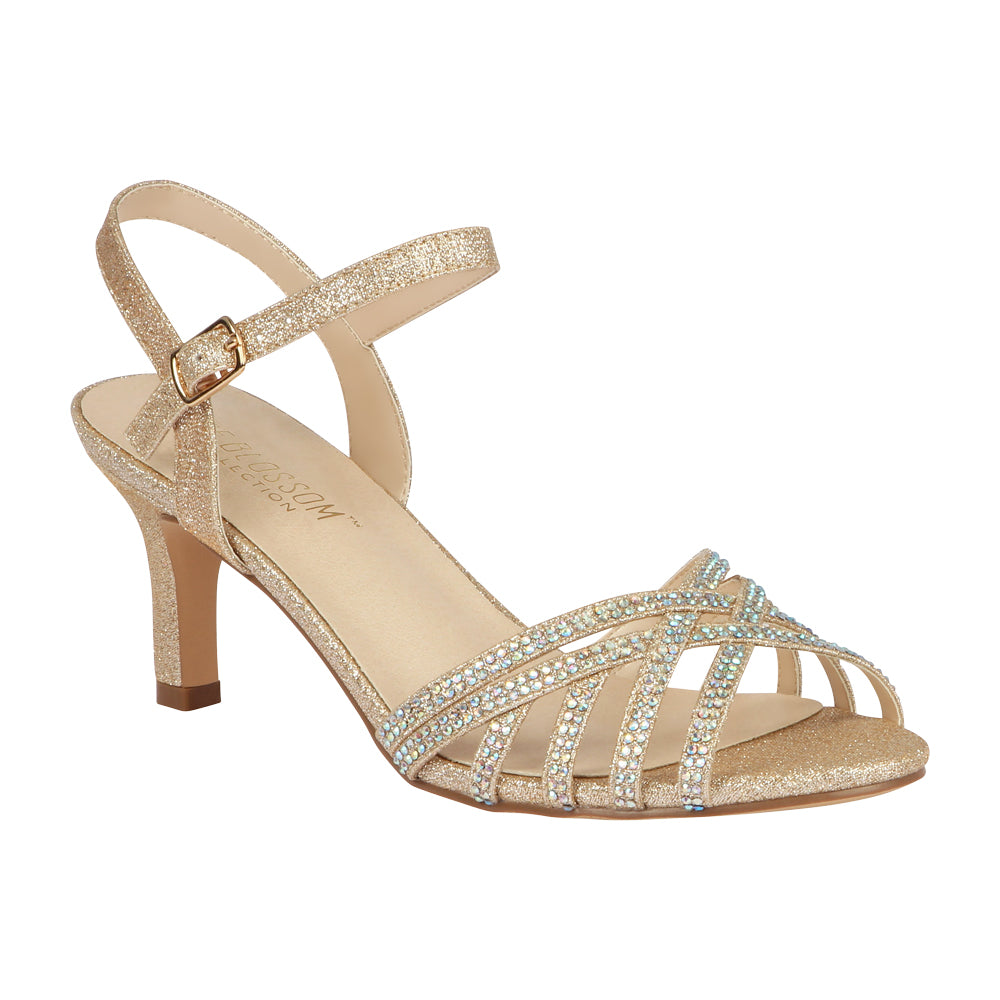 VALERIE-16 Low Heeled Sandal with Rhinestones- Nude