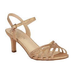 VALERIE-16 Women's Low Heel with Rhinestones- Rose Gold