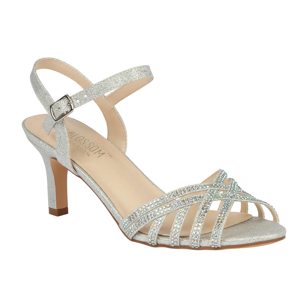 VALERIE-16 Low Heeled Sandal with Rhinestones- Silver