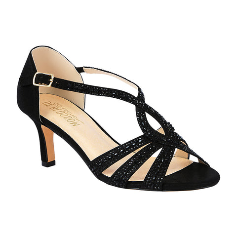Valerie-3 Low Strappy Rhinestone Heel- Black