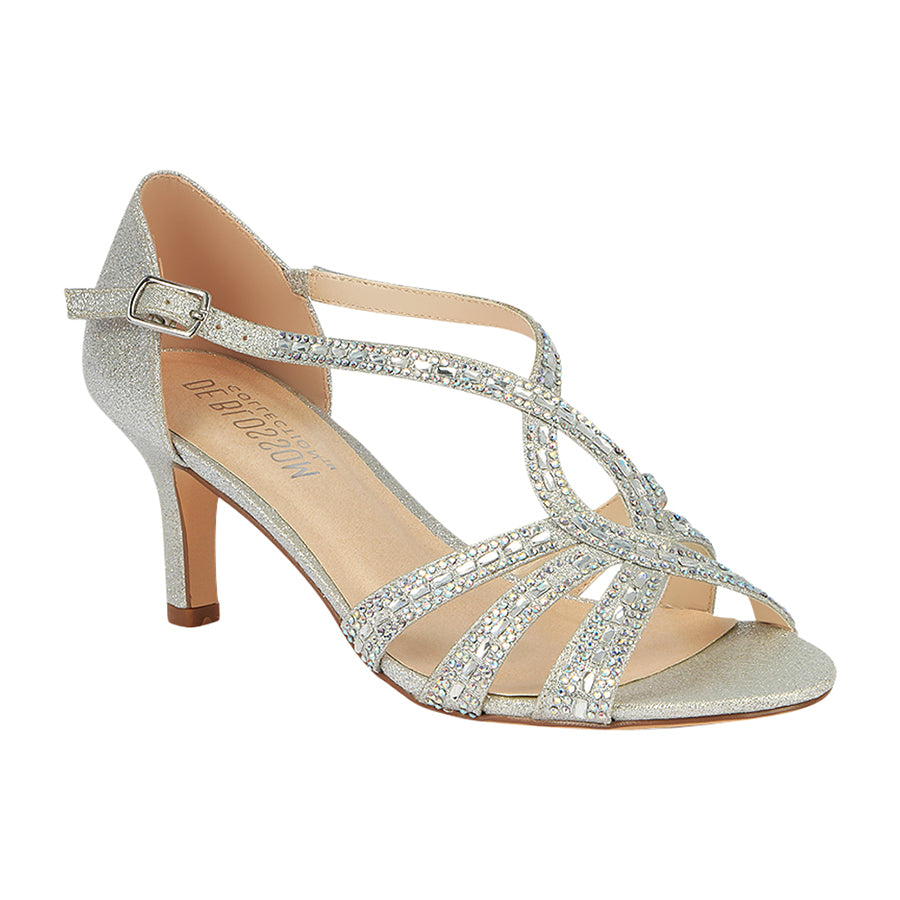 c57d25488c3 Valerie-3 Low Strappy Rhinestone Heel- Silver – De Blossom Collection