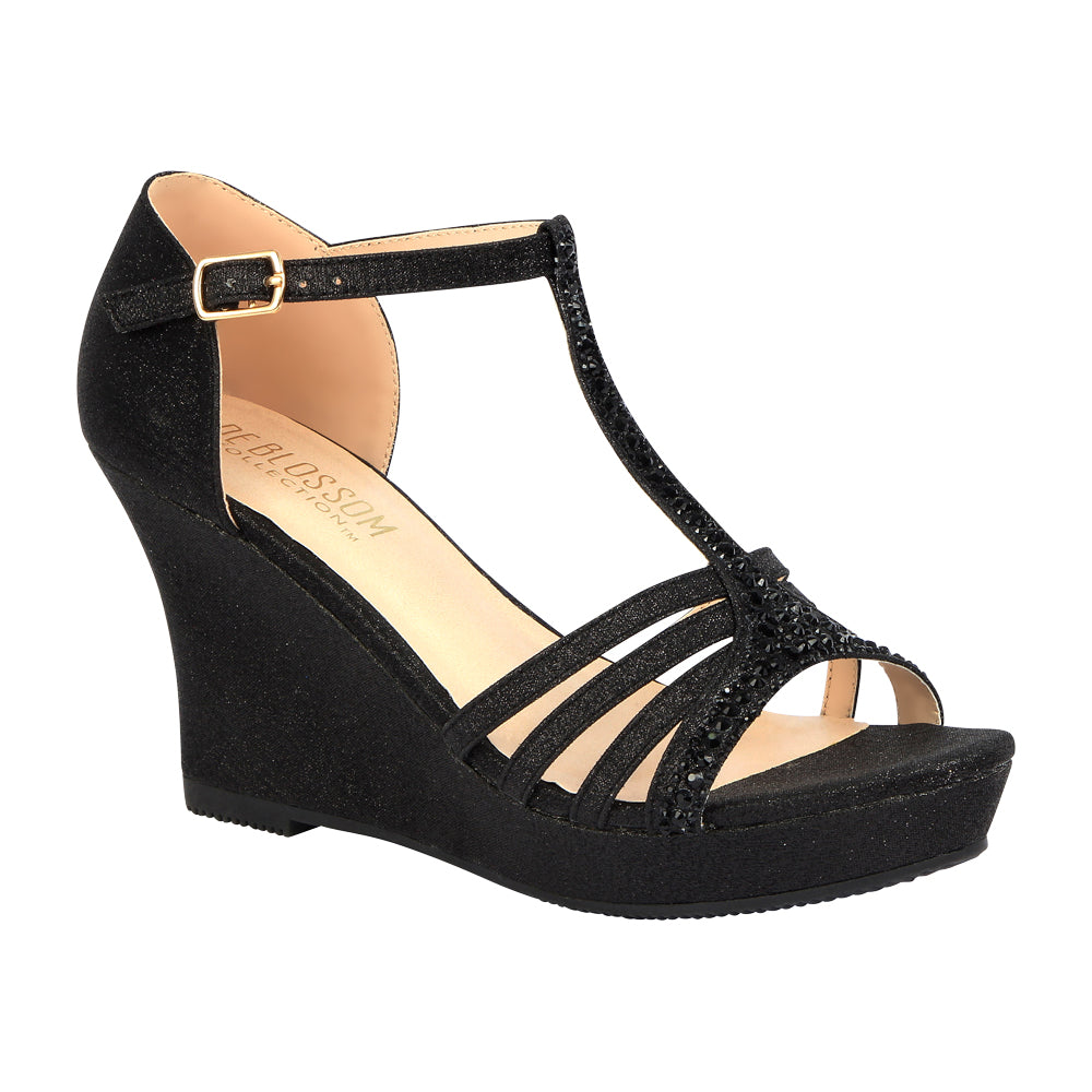 Winni-111 Sparkly T-Strap Wedge Sandal - Black, Wedges- De Blossom Collection