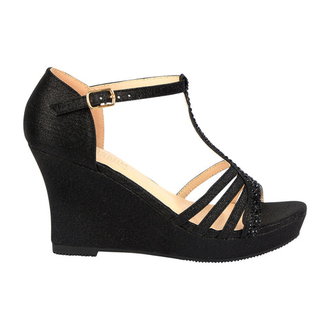 Winni-111 Sparkly T-Strap Wedge Sandal - Black