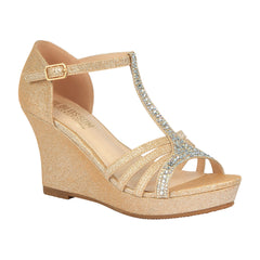 Winni-111 Sparkly T-Strap Wedge Sandal - Nude, De Blossom Collection- De Blossom Collection