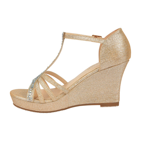 Winni-111 Sparkly T-Strap Wedge Sandal - Nude