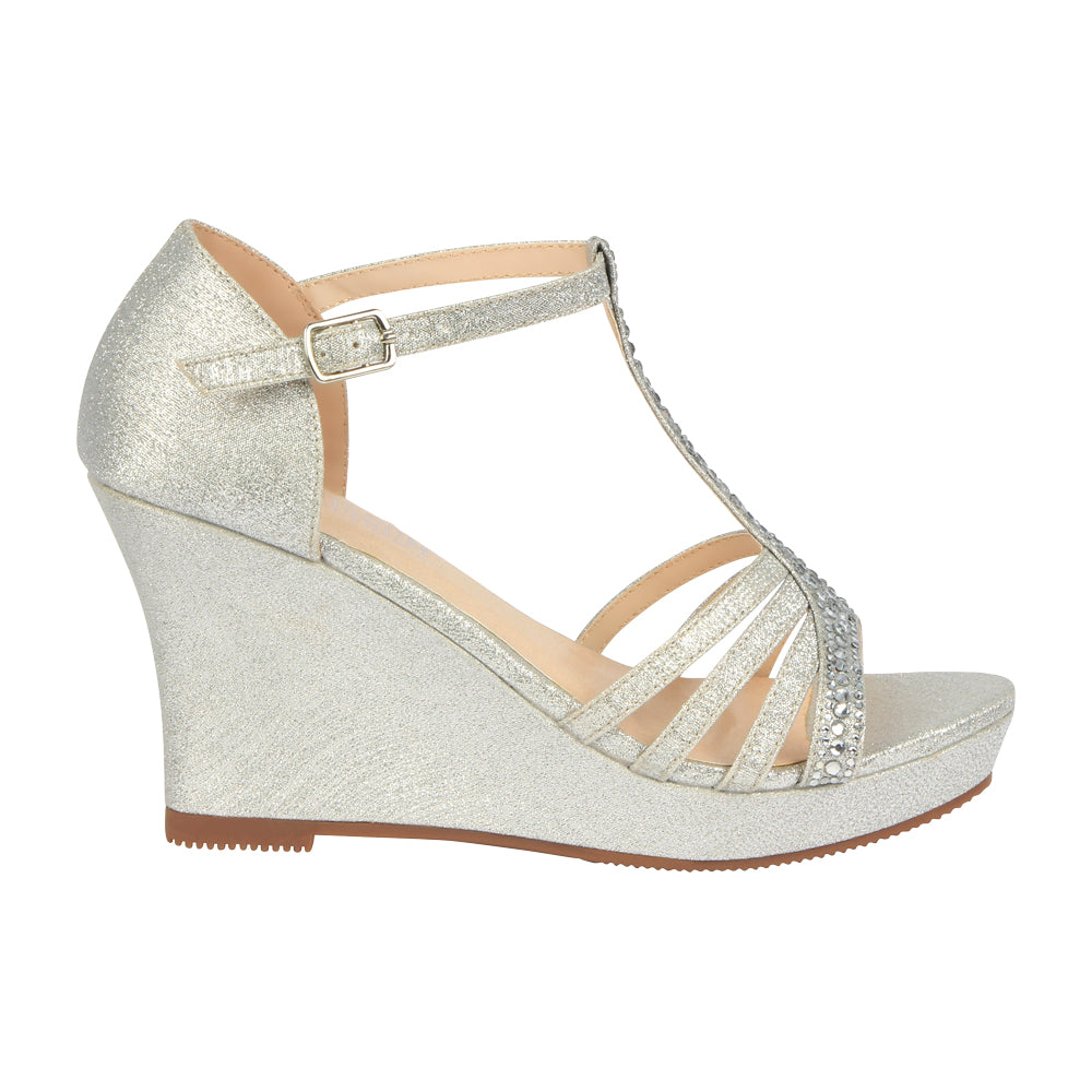 Winni-111 Sparkly T-Strap Wedge Sandal - Silver, Wedges- De Blossom Collection