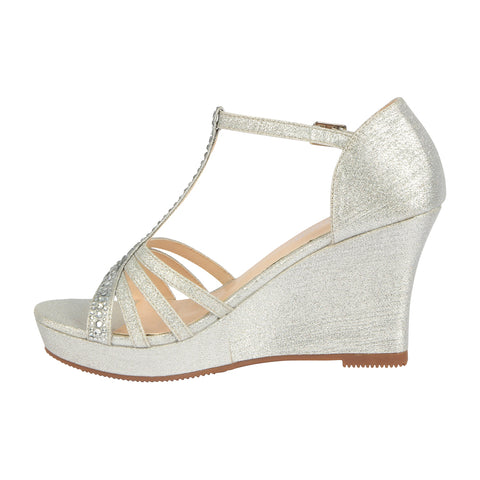 Winni-111 Sparkly T-Strap Wedge Sandal - Silver