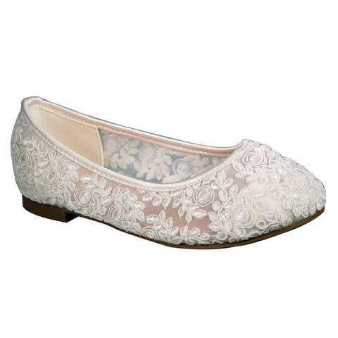 K-Harper-53 Kids Lace Flat- White