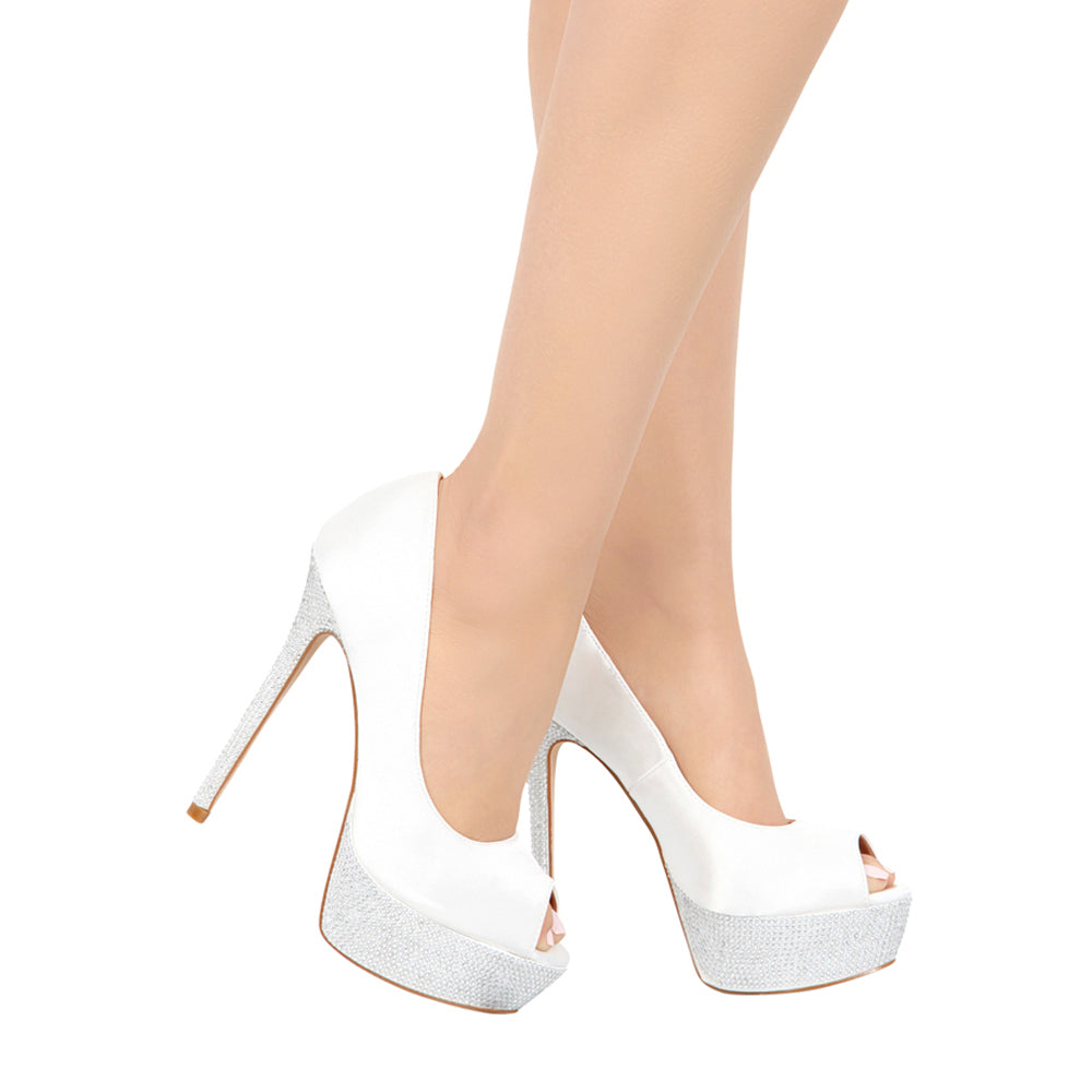 HAILEY-2B White Satin Platform Bridal Shoe- White, De Blossom Bridal- De Blossom Collection