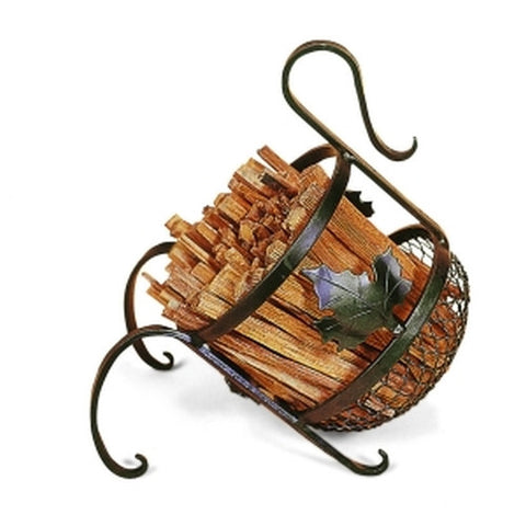 Wrought Iron European Firewood Basket Caddy - Colorado Fireplace Supply
