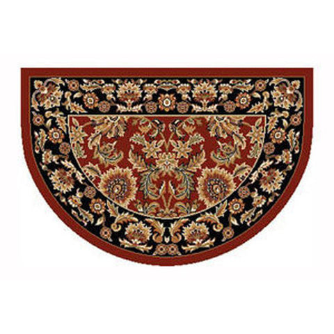 "Stetson Heat Resistant 46"" x 31"" Red and Black Kashan Hearth Rug - Colorado Fireplace Supply"