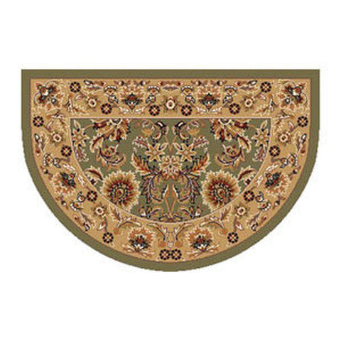 "Anwar Heat Resistant 46"" x 31"" Green & Taupe Kashan Hearth Rug - Colorado Fireplace Supply"