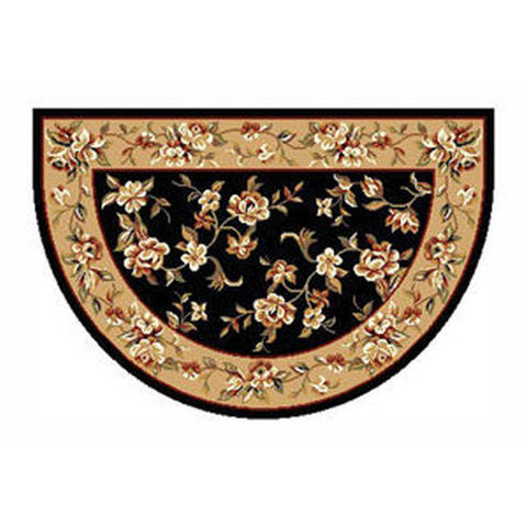 "Boulos Heat Resistant 46"" x 31"" Black & Beige Floral Kashan Hearth Rug - Colorado Fireplace Supply"