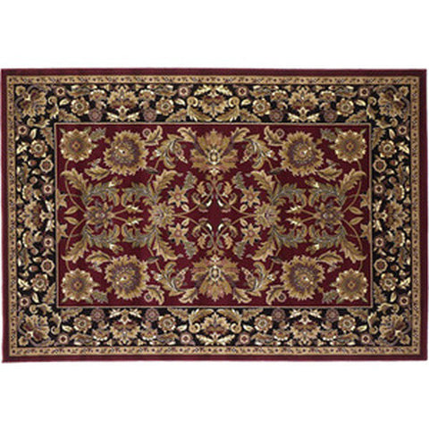 "Marsh Heat Resistant 39"" x 59"" Red and Black Kashan Hearth Rug - Colorado Fireplace Supply"