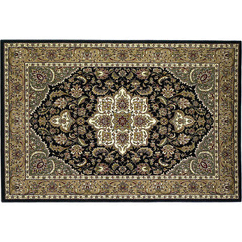 "Azmi Heat Resistant 39"" x 59"" Black & Beige Floral Kashan Hearth Rug - Colorado Fireplace Supply"