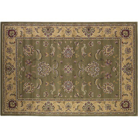 "Bijar Heat Resistant 39"" x 59"" Sage & Beige Kashan Hearth Rug - Colorado Fireplace Supply"