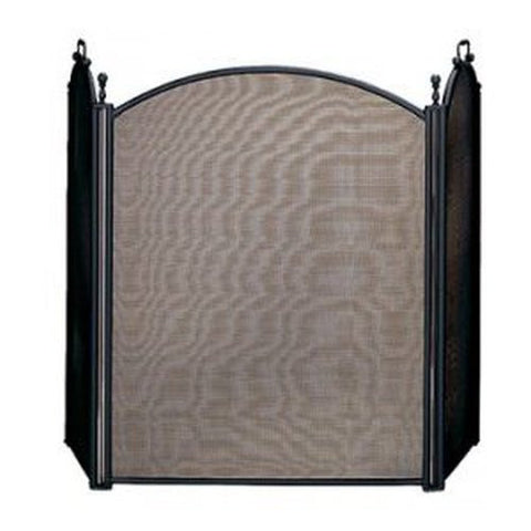 Black 3 Panel Folding Fireplace Mesh Screen - Colorado Fireplace Supply