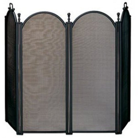 Black 4 Panel Folding Fireplace Mesh Screen - Colorado Fireplace Supply